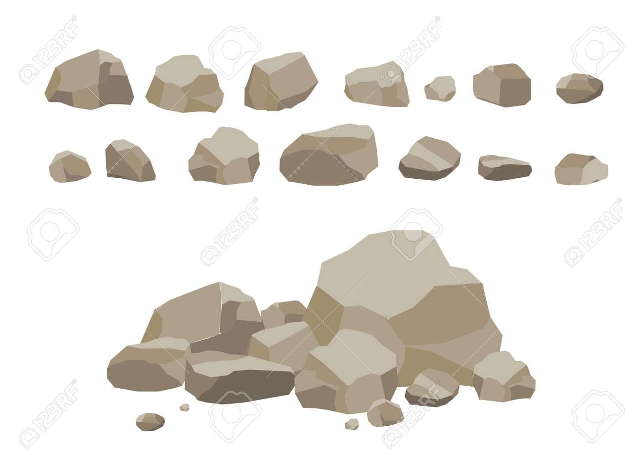 Roca De Piedra Conjunto De Dibujos Animados Piedras Y Rocas En