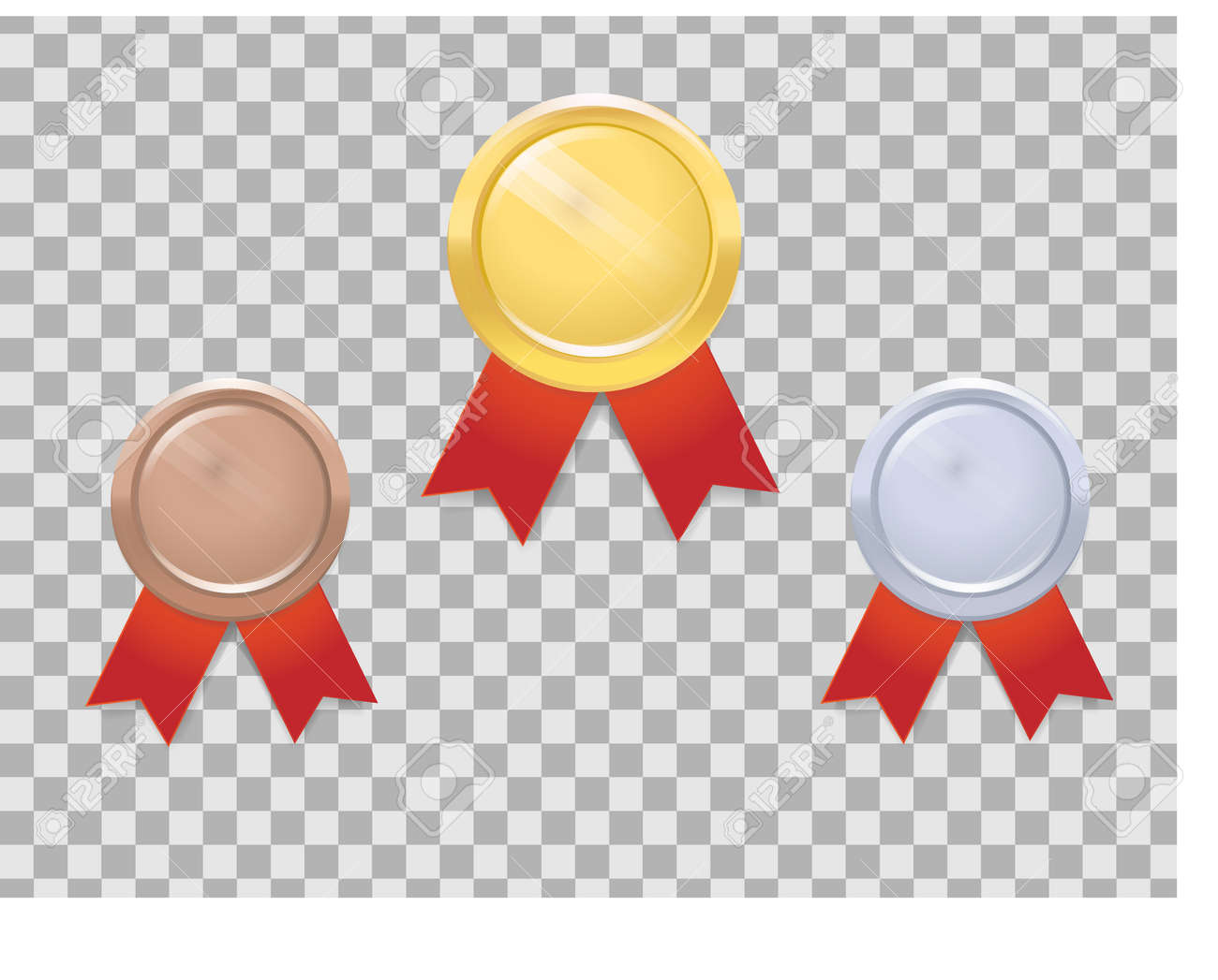 Set of gold, silver and bronze medals with red ribbon on transparent