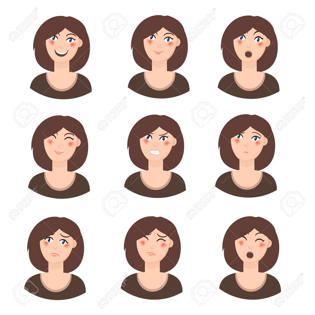 girl emotion faces cartoon vector illustration woman emoji face rh 123rf com vector facebook logo vector facebook logo download