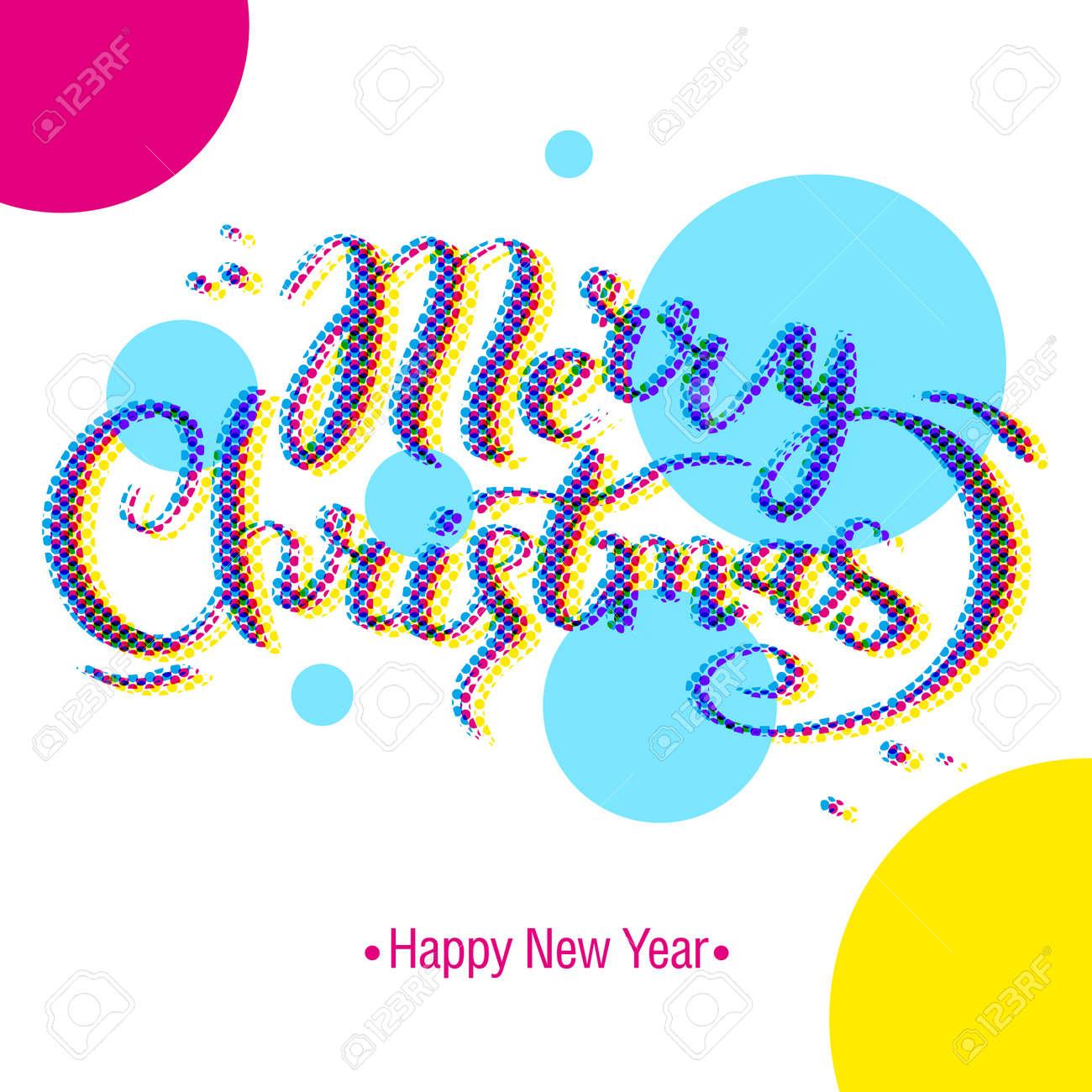 Feliz Navidad Y Feliz Año Nuevo Coloreado De Las Letras Caligráficas