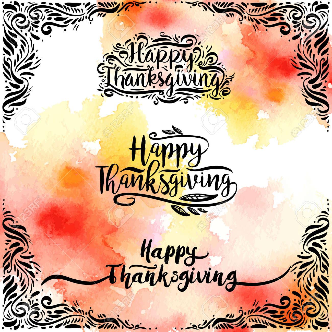 Conjunto De Estilo De Diseño Feliz Día De Acción De Gracias ...