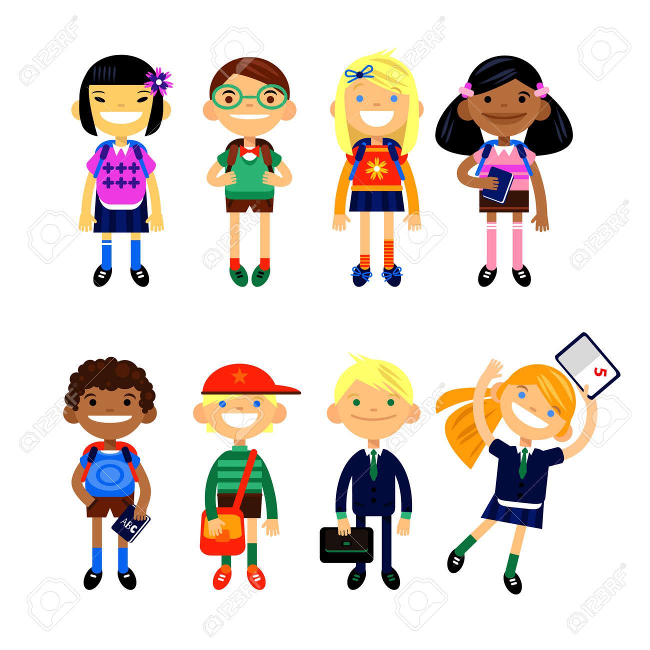 Ecolier jeu de caractères écolier élémentaire, les élèves des écoles sur un