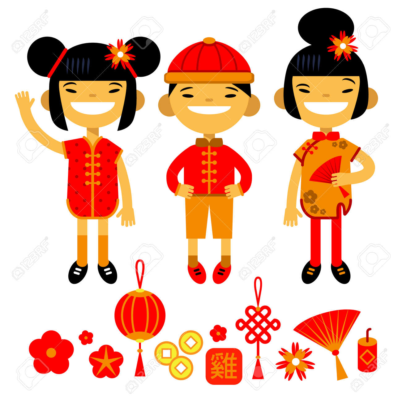 Set Of Traditional Symbols And Characters Of Chinese New Year