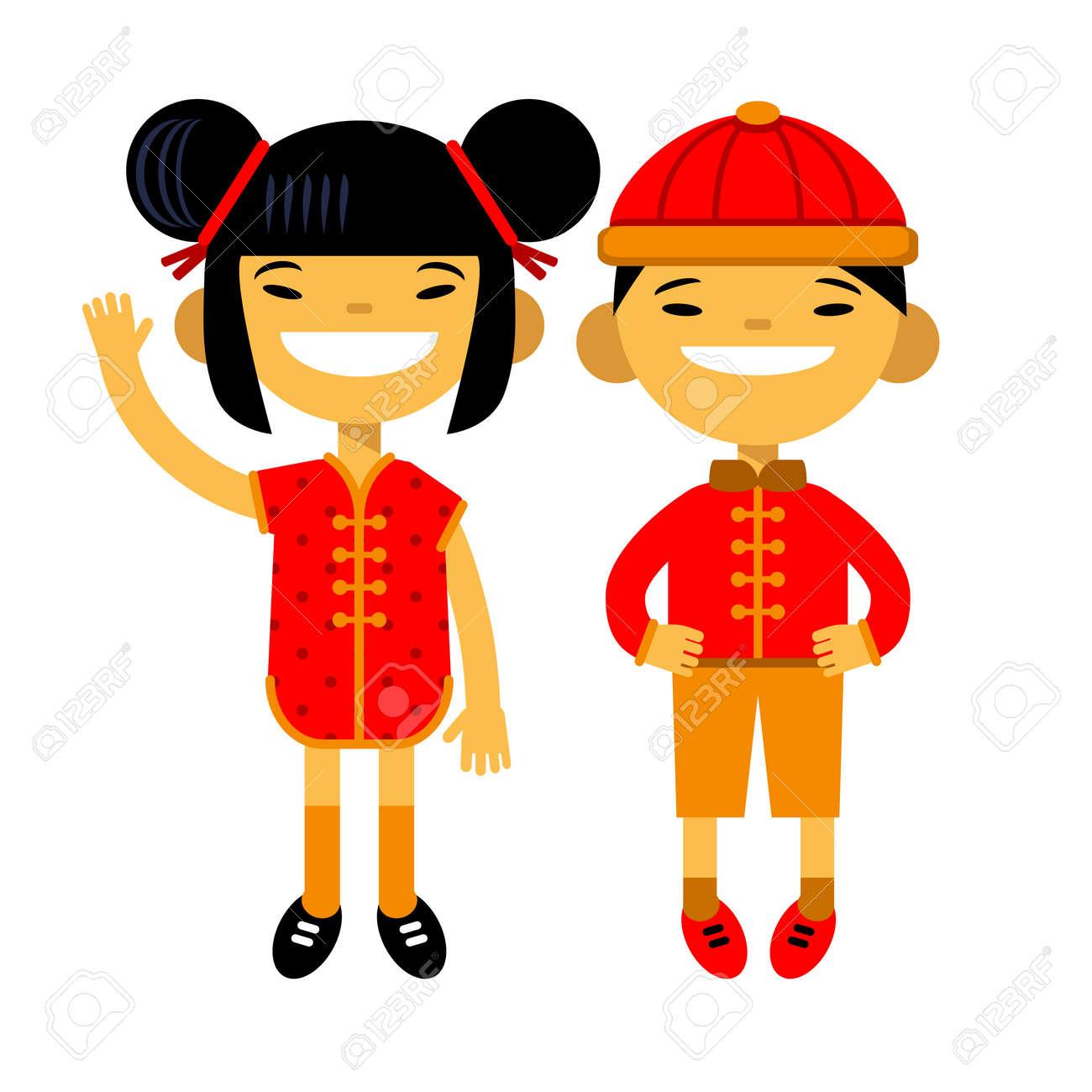 Cartoon Paar, Zeichen, Asiatischen Jungen Und Mädchen In ...