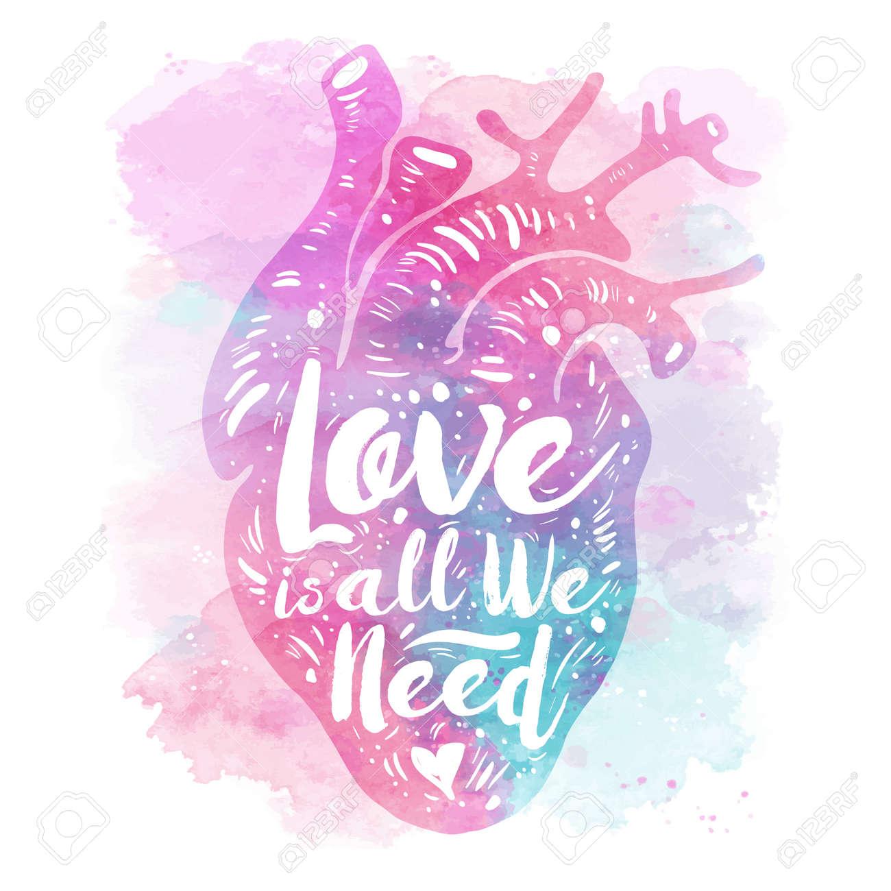 Corazón Anatómico Rosa Sobre Fondo De Acuarela. Tagline Love Es Todo ...