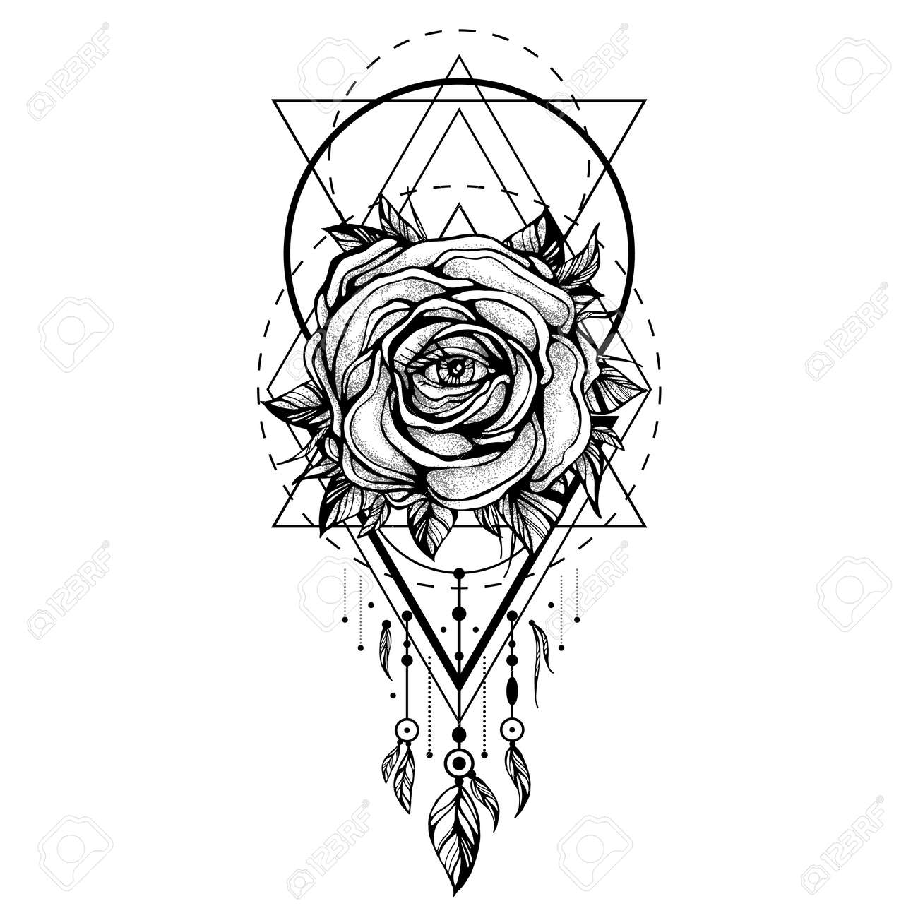 Black chaplet rose flower with the eye pattern of geometric black chaplet rose flower with the eye pattern of geometric shapes on white backdrop ccuart Images