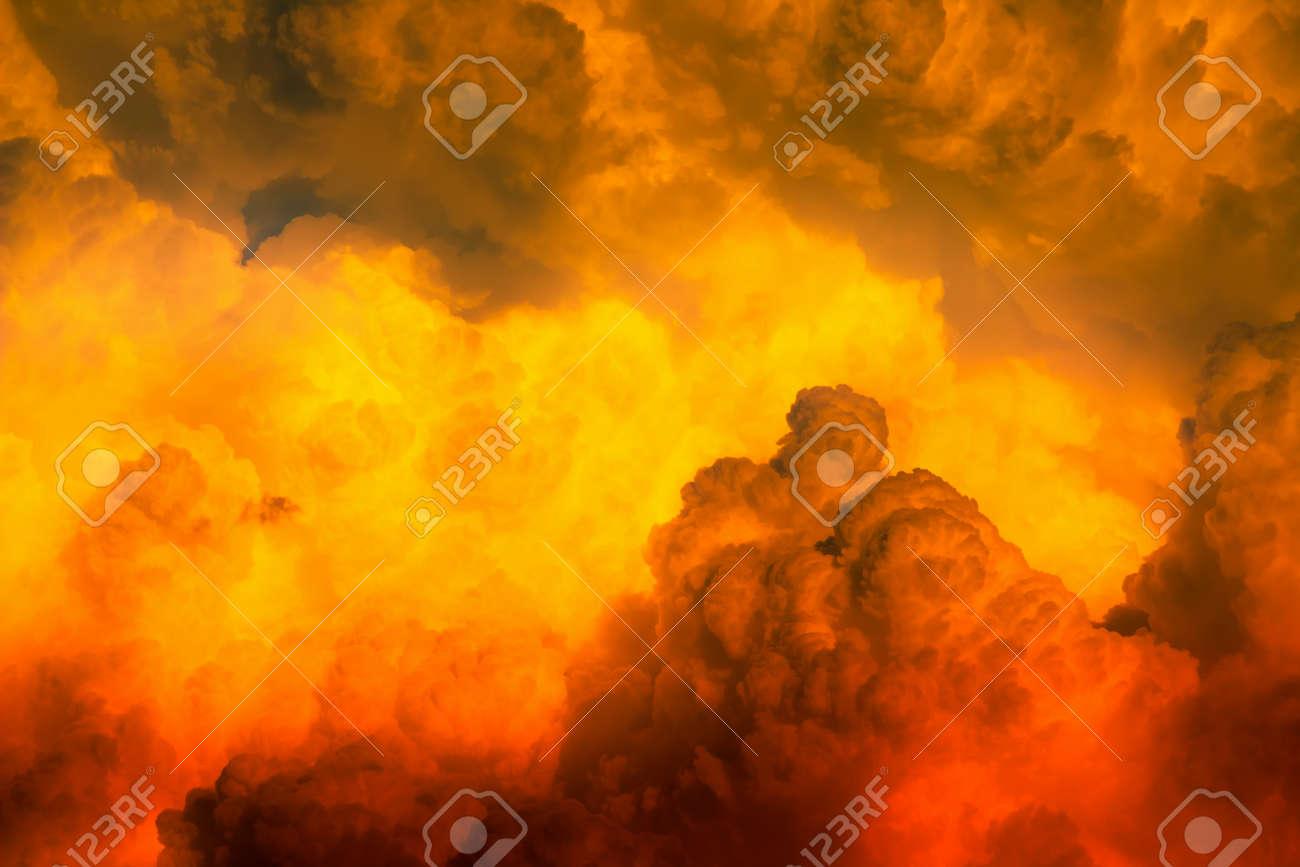 Red orange dim clouds in hot sky - 149096544