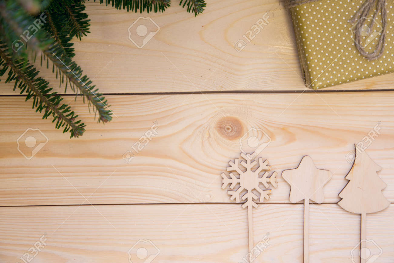 bright festive morning in a country christmas or new year background with green natural fir
