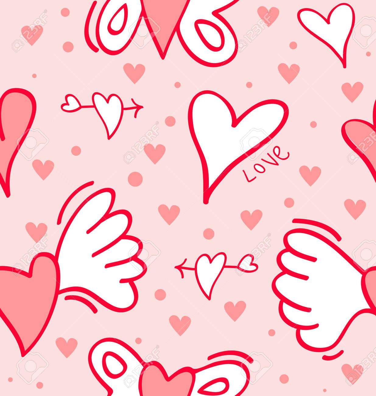 Ziemlich Geflügelt Roten Herzen Auf Einem Rosa Feld Für V-Day ...