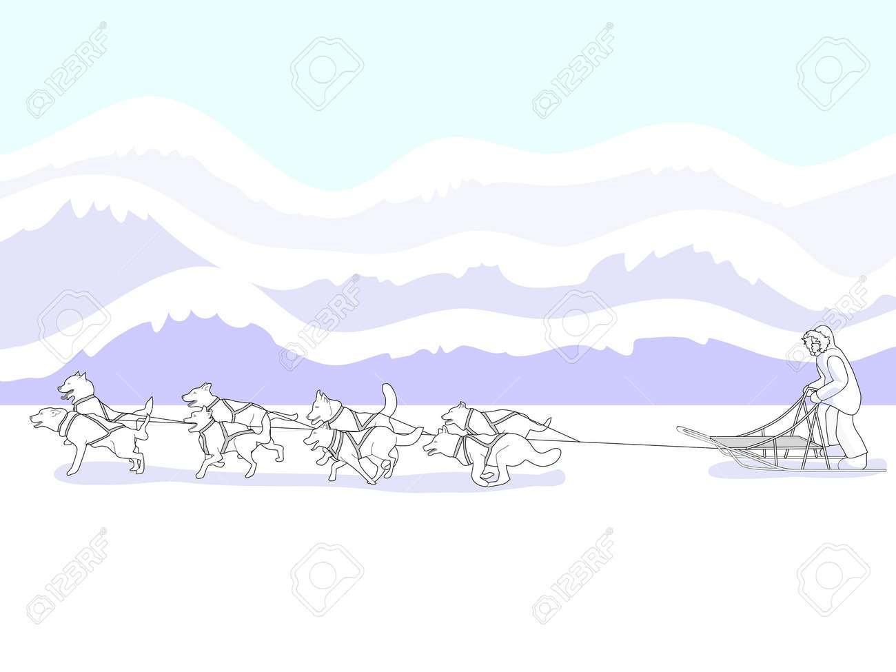 Musher and dog sled team- bright Stock Vector - 15902911