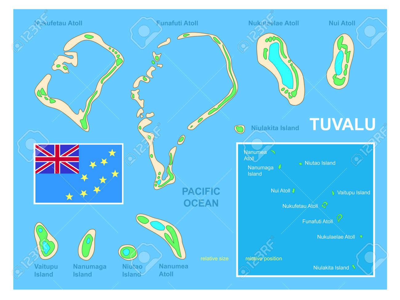 Tuvalu Map And Flag Royalty Free Cliparts Vectors And Stock - Tuvalu map