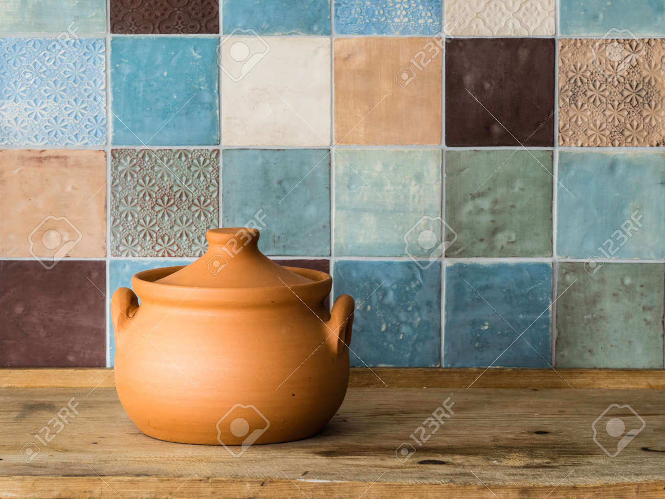 Ceramic Pot In A Rustic Kitchen Stock Photo, Picture And Royalty ...