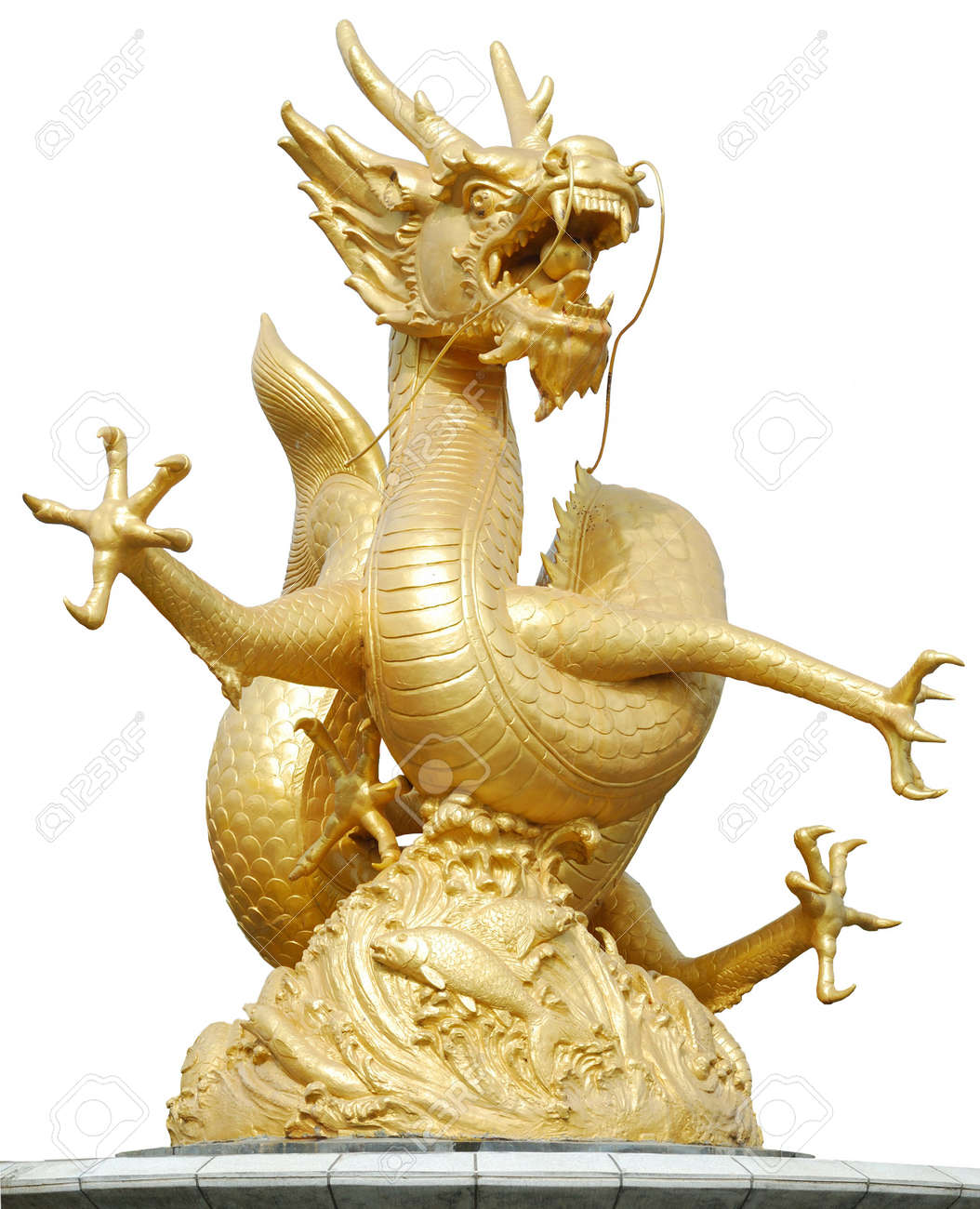 Gold Dragon Sculpture Figure Art China, Phuket Thailand Stock Photo - 7480758