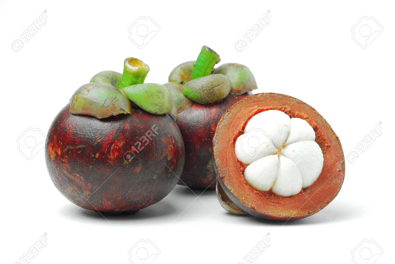 Mangosteen is a tropical fruit, white meat, dark purple rind Stock Photo - 14658071