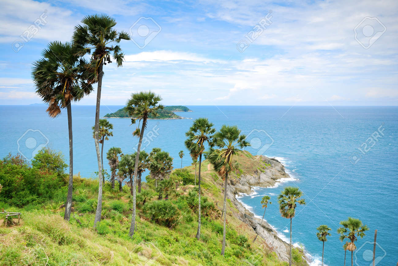 Promthep Cape is a mountain of rock that extends into the sea in Phuket, Thailand Stock Photo - 14698520