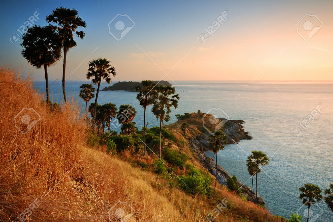 Promthep Cape is a mountain of rock that extends into the sea  view point sunset in Phuket, Thailand Stock Photo - 14924305