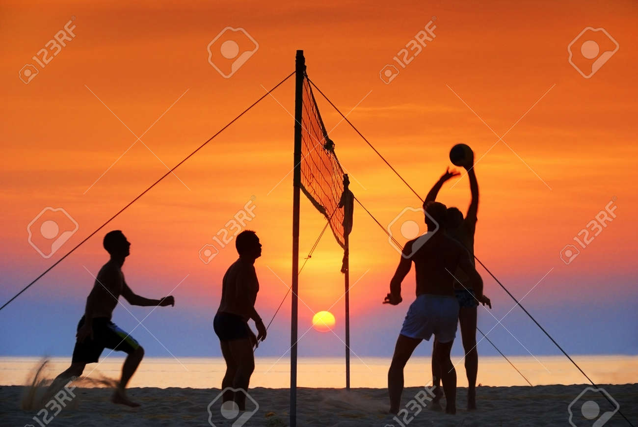 silhouette play  beach  volleyball. Sunset time Stock Photo - 14983967