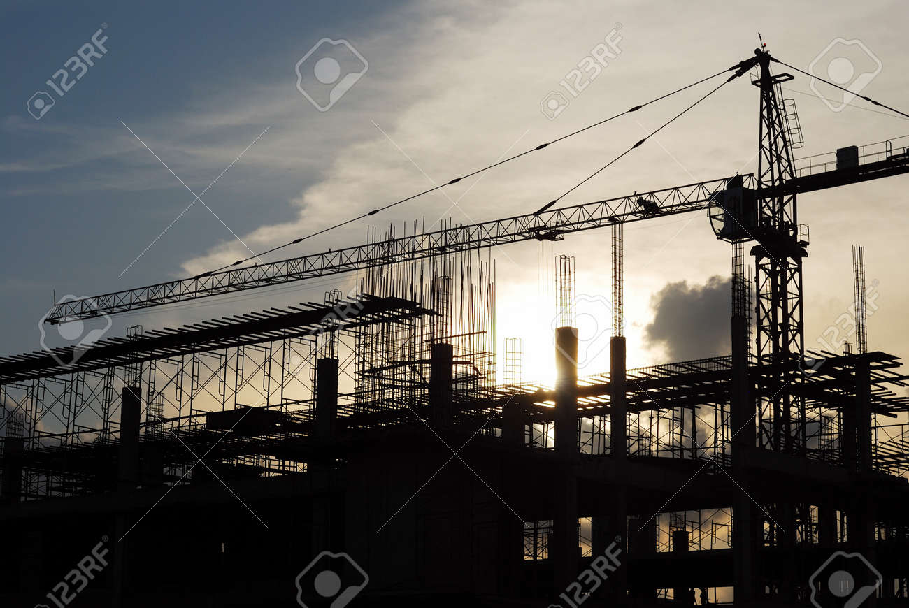 The construction crane on sunset Stock Photo - 15513841