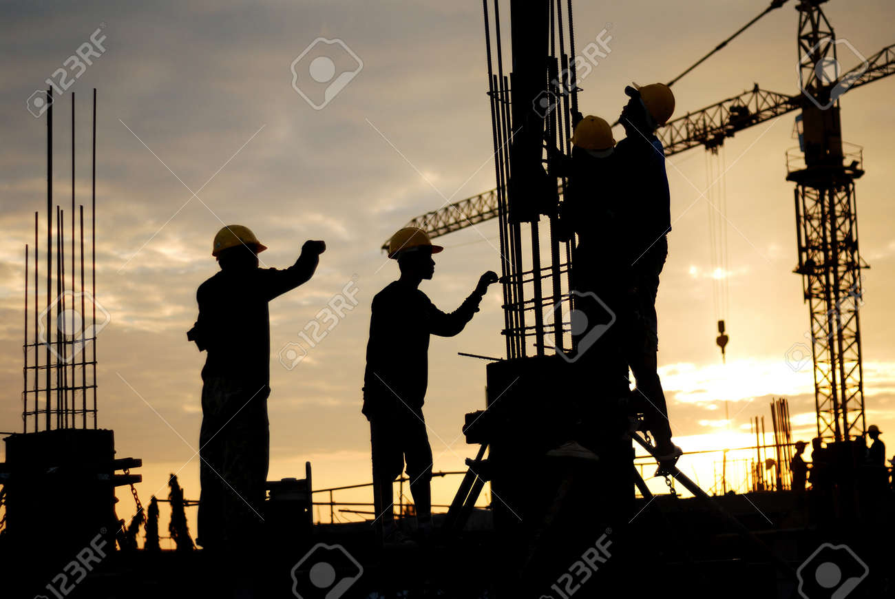 silhouette of construction worker on construction site Stock Photo - 18319014