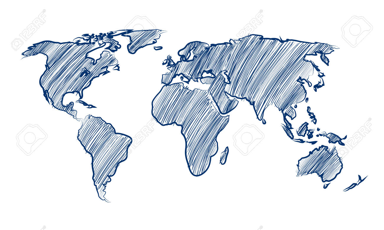 Hand Drawn Map Of The World.World Map Globe Hand Drawn Vector Illustration Royalty Free Cliparts