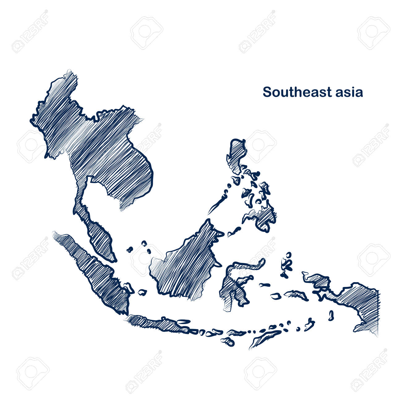 Southeast asia  map hand drawn background Stock Vector - 28029728