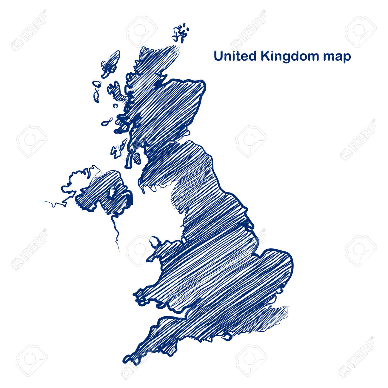 United Kingdom map hand drawn background Stock Vector - 28029742