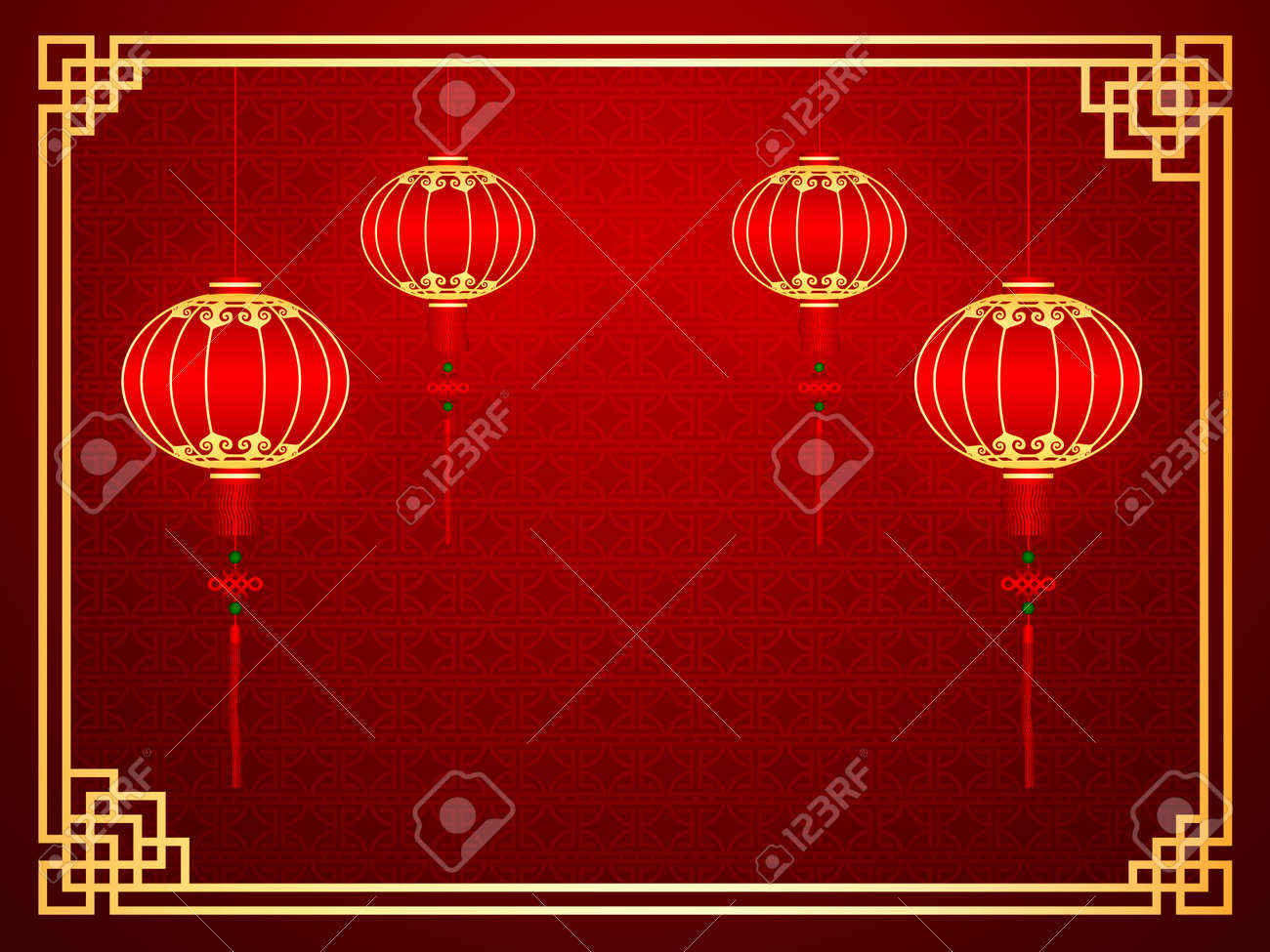 Chinese traditional template with red lanterns on Seamless Pattern Background Stock Vector - 29649527