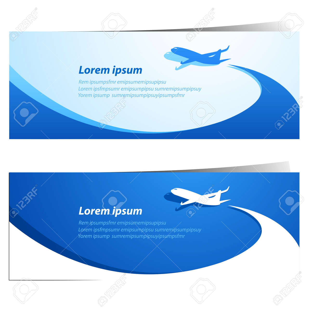 Airplane travel banners vector illustration Stock Vector - 30133984