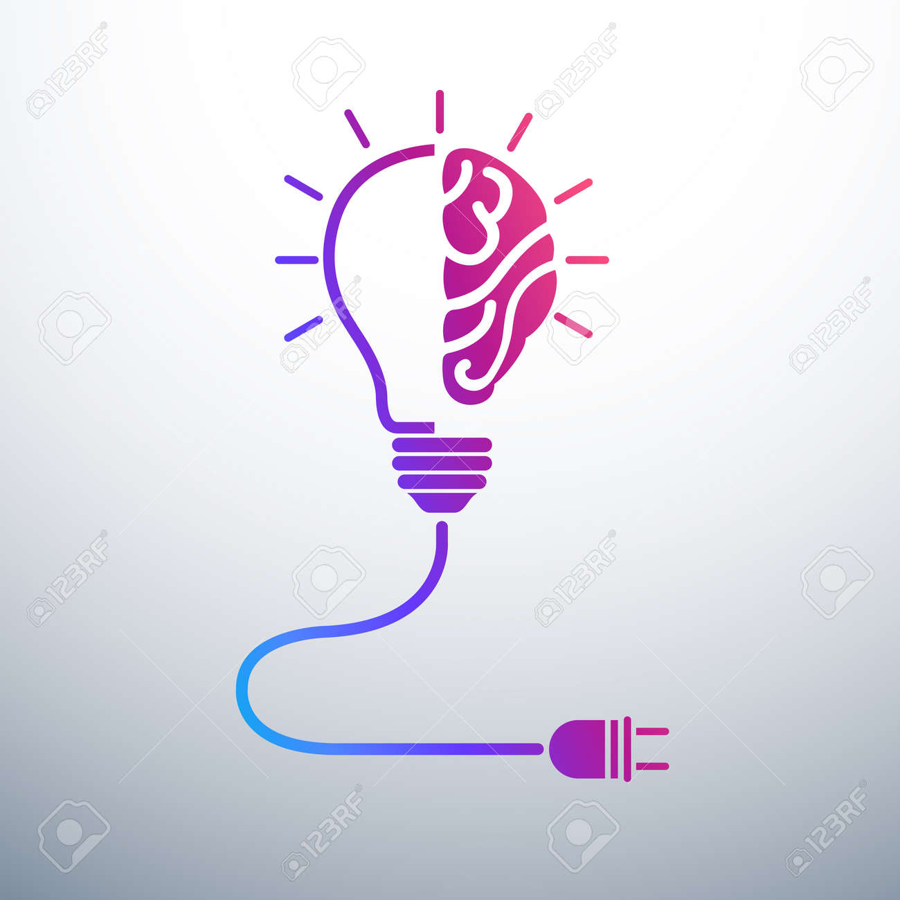 Creative Brain Idea Concept With Light Bulb And Plug Icon ,vector  Illustration Stock Vector
