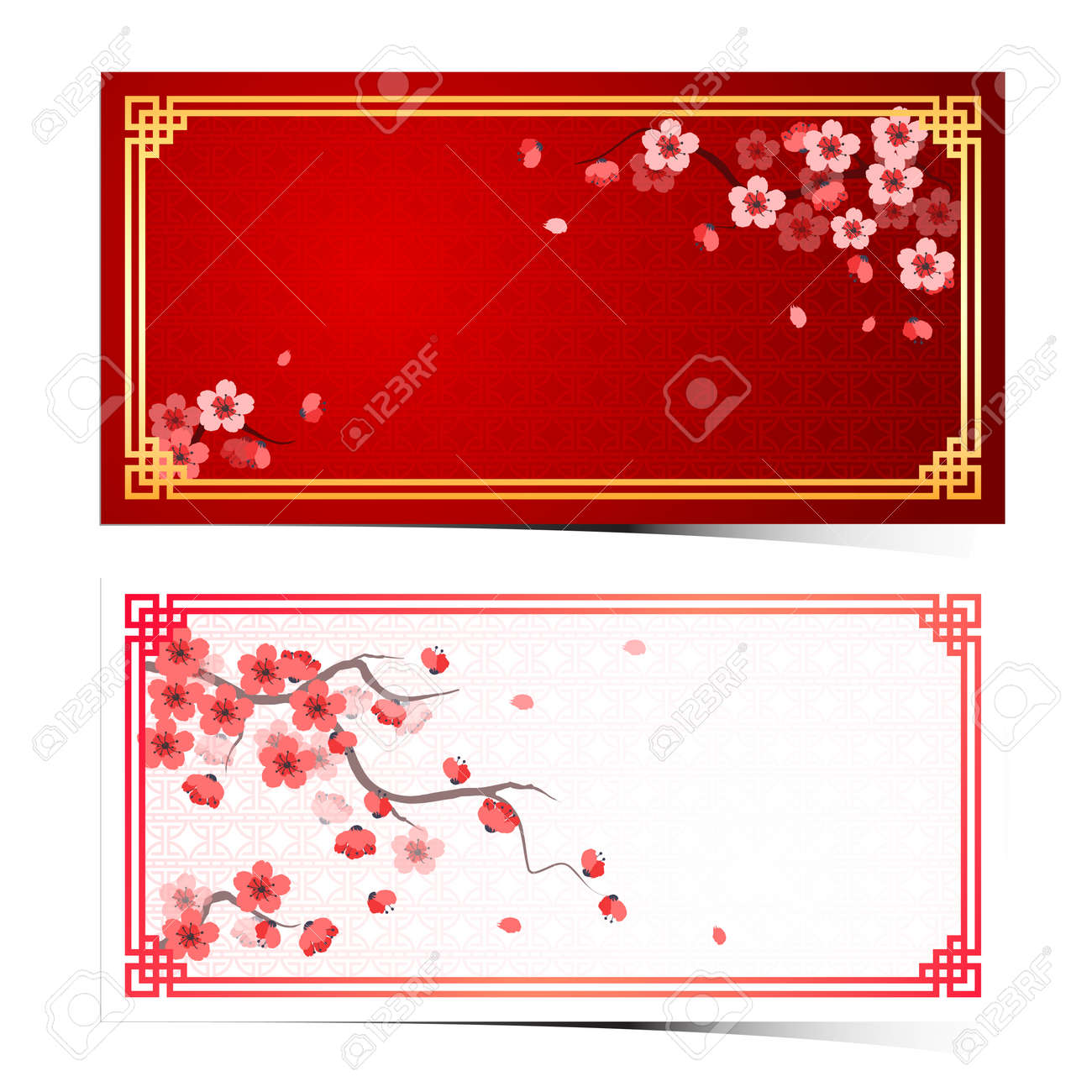 cherry blossom template with chinese frame pattern vector illustration Stock Vector - 35808129