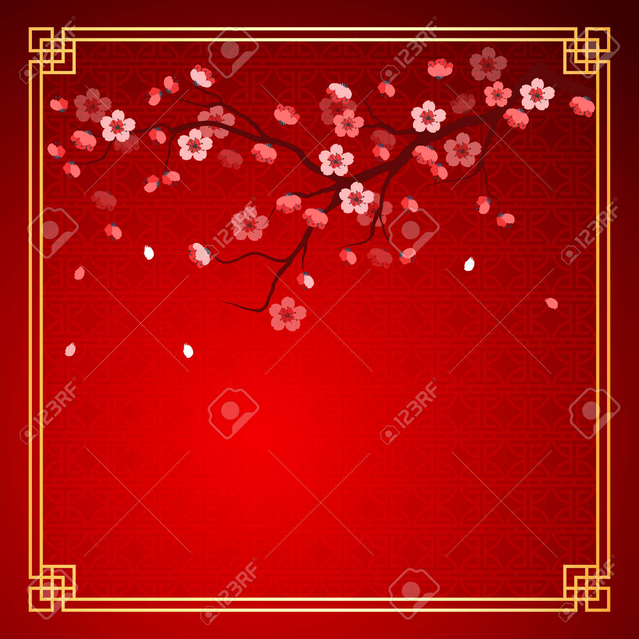 cherry blossom template with chinese frame pattern vector illustration Stock Vector - 35808139
