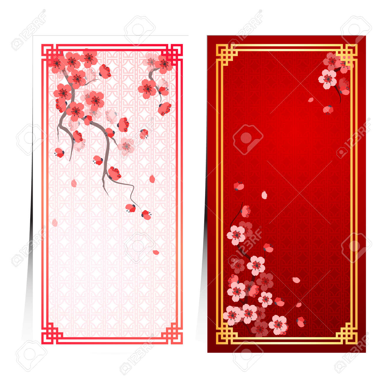 cherry blossom template with chinese frame pattern vector illustration Stock Vector - 35808141