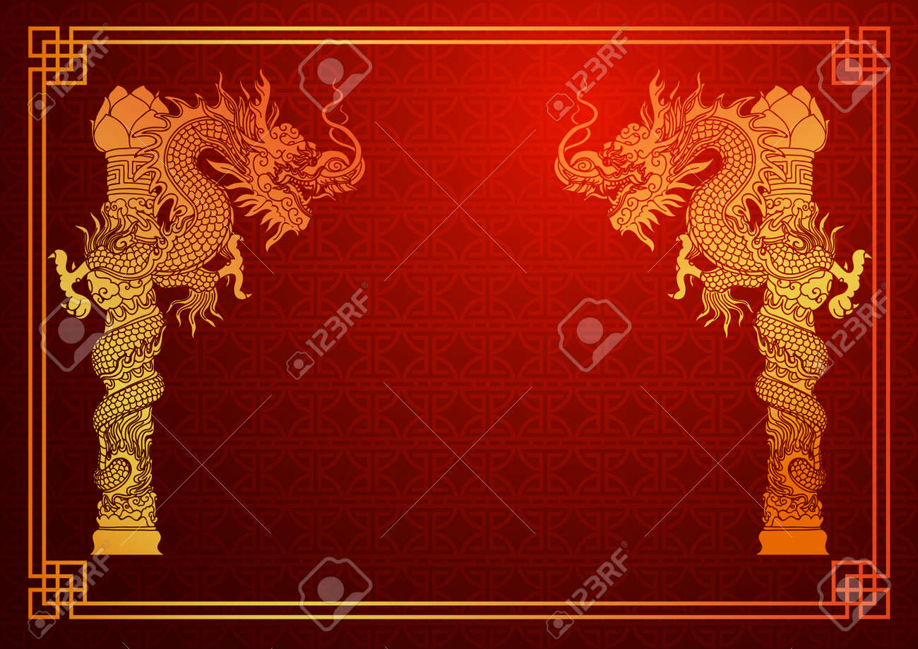 Chinese traditional template with chinese dragon on red Background Stock Vector - 39556863