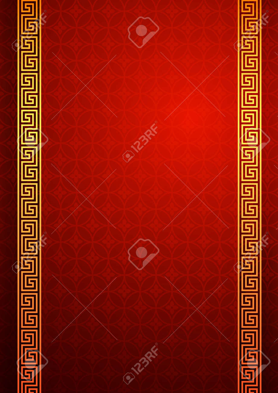 Chinese traditional template with frame on red Background vector illustration Stock Vector - 40396940