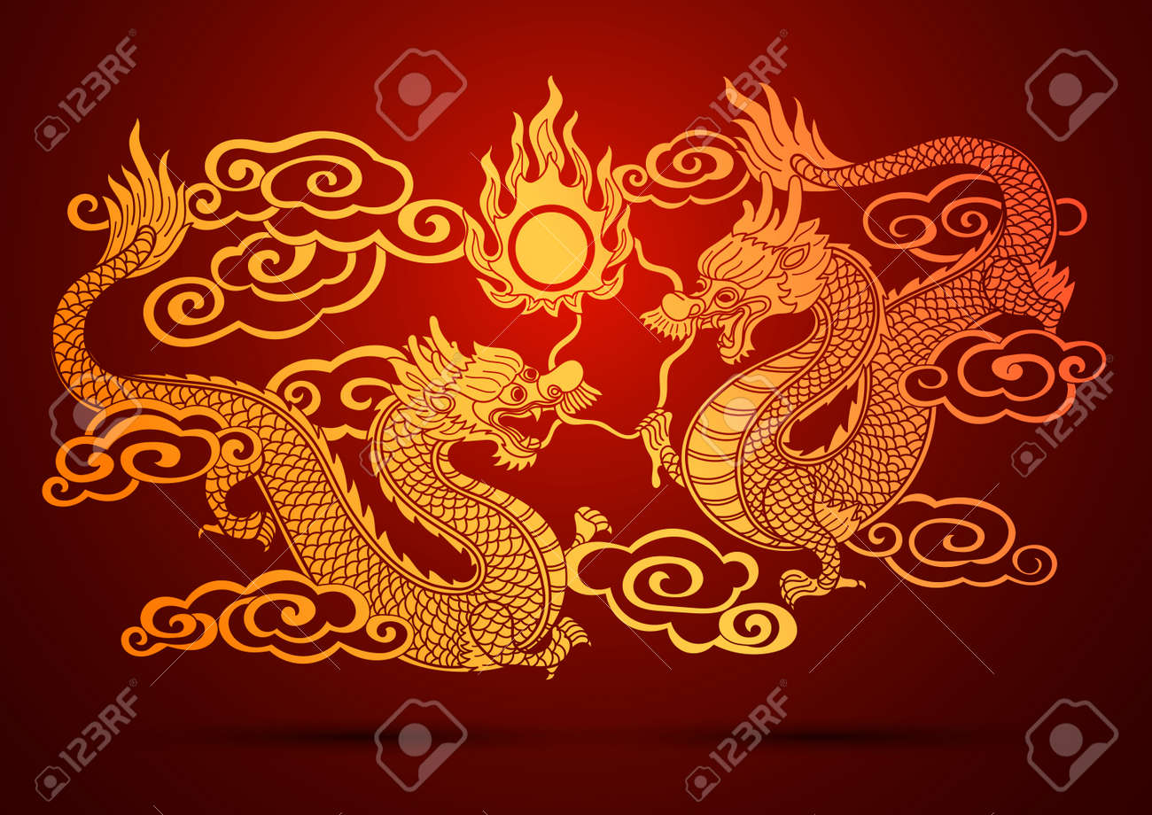 Illustration of Traditional chinese Dragon vector illustration Stock Illustration - 40876295