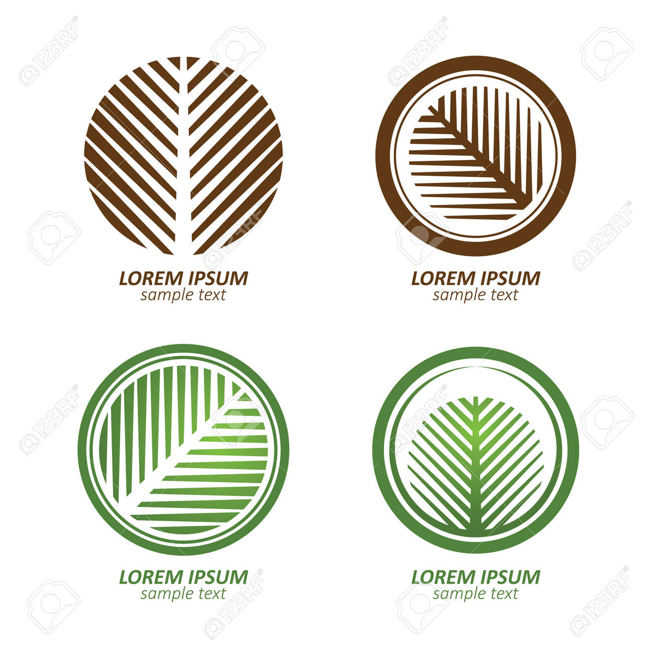Green Circle Palm Tree Vector Logo Design. Eco Concept.Vector ...