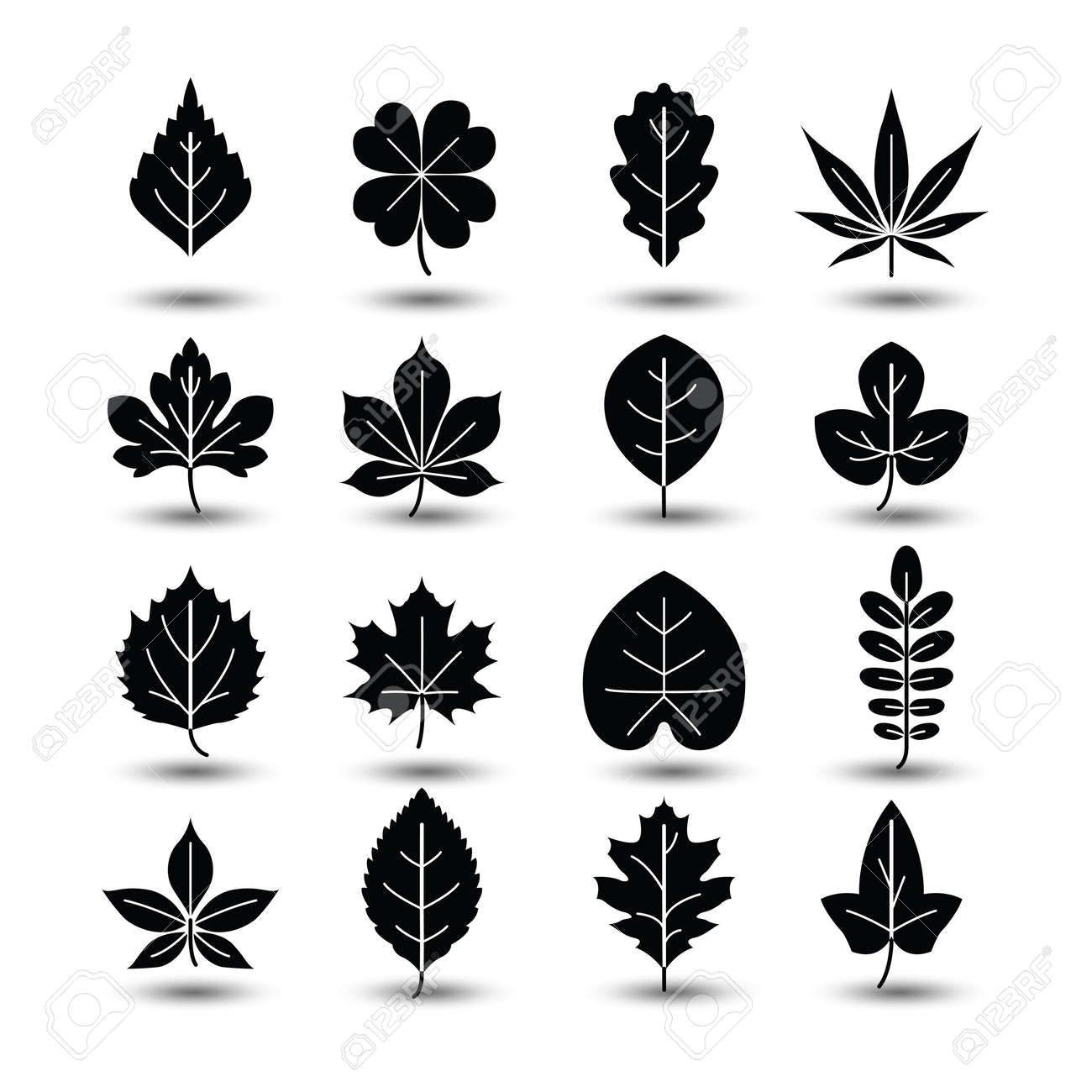 Outlined tree leaf line icons,vector illustration Stock Vector - 44668584