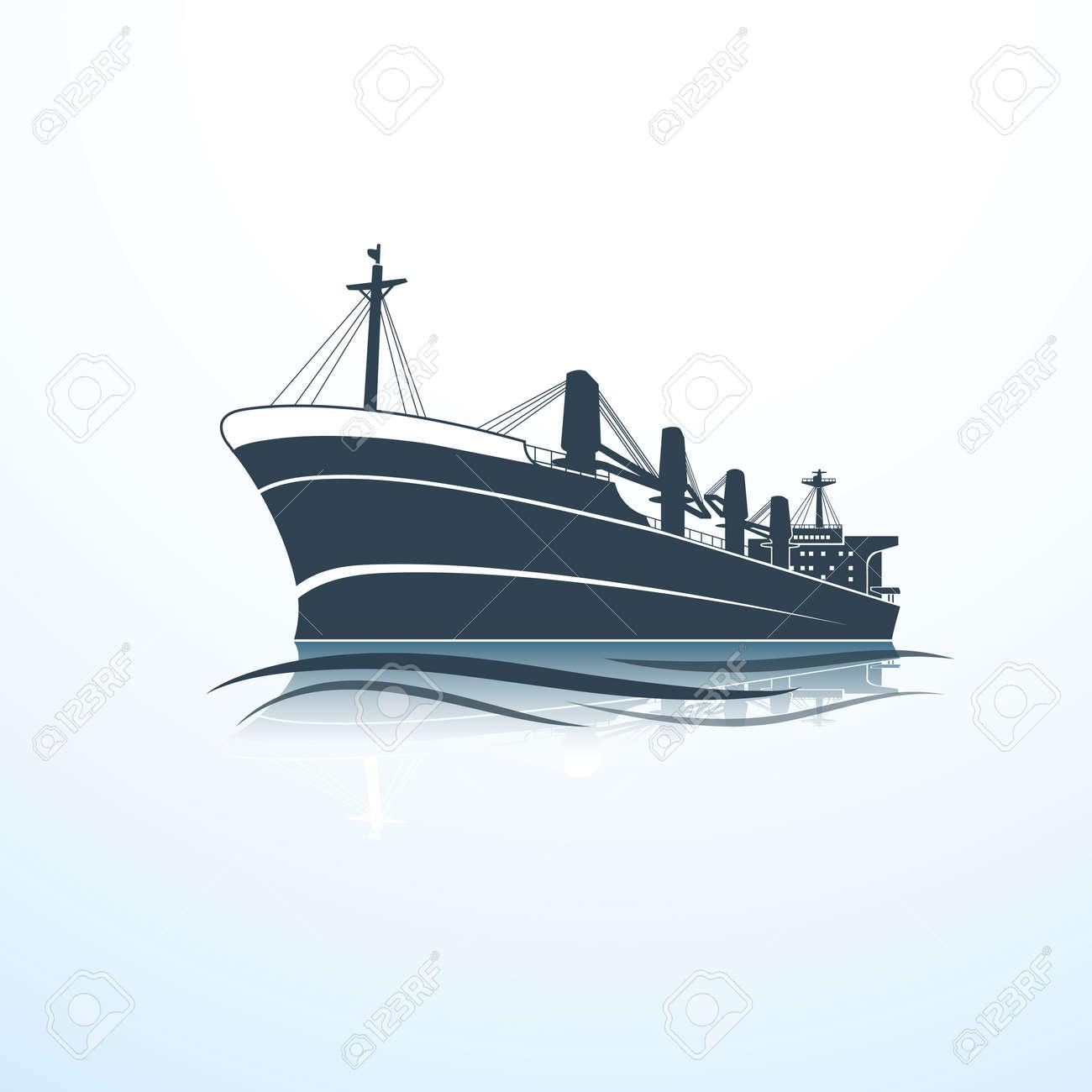 silhouettes of the sea cargo ship,vector illustration Stock Vector - 44695475