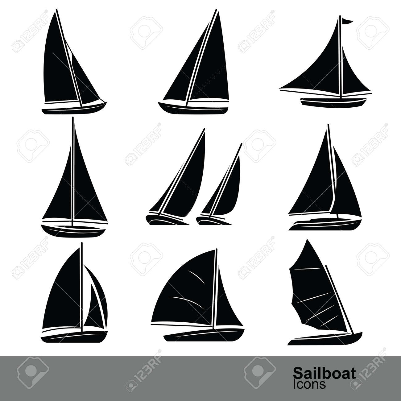 sailboat silhouette icon set ,vector illustration royalty free