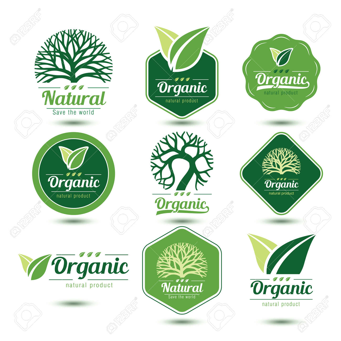 Nature labels and badges with green tree and leave , vector illustration - 44668588