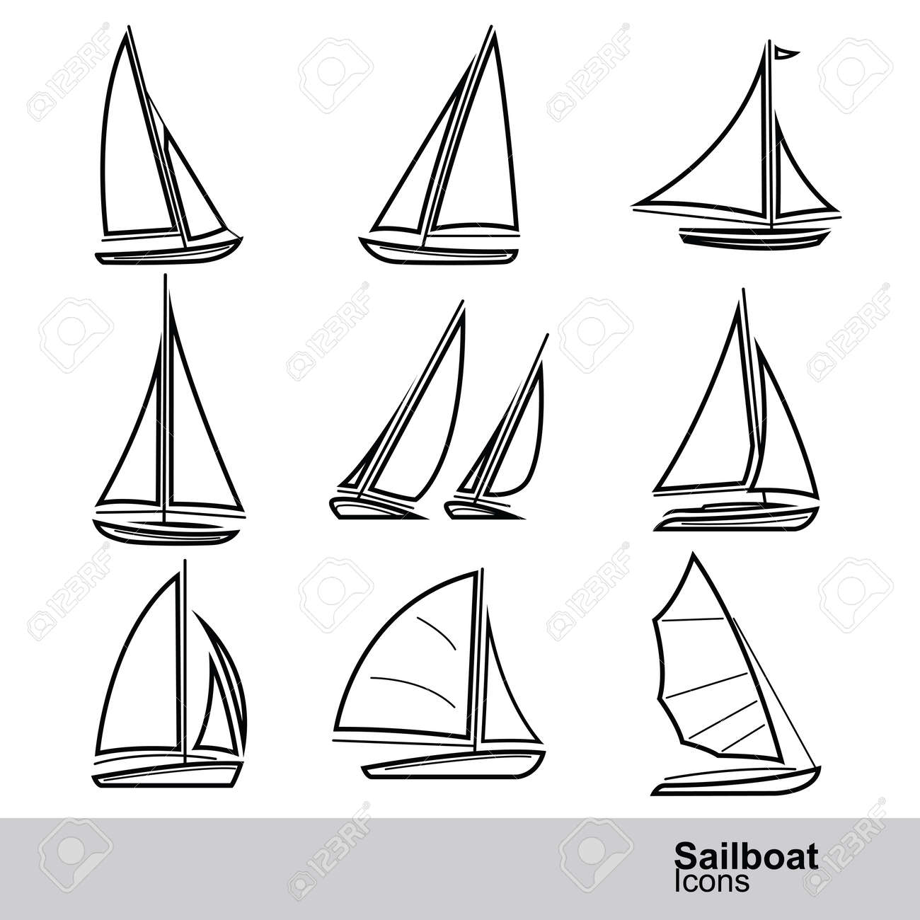 sailboat line icon set ,vector illustration - 45013894