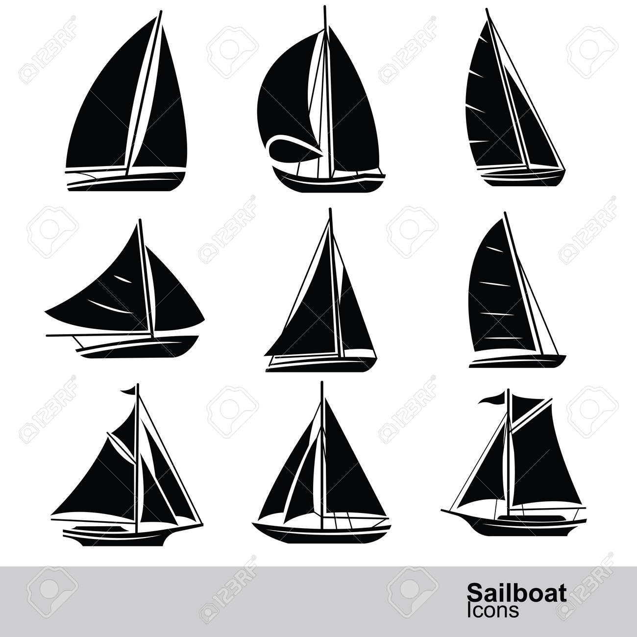 sailboat silhouette icon set ,vector illustration Stock Vector - 45013900