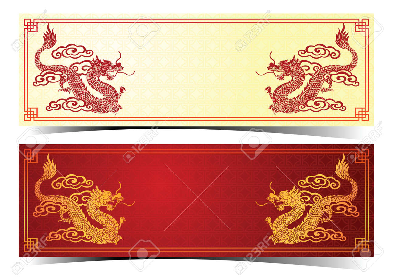 Chinese traditional template with chinese dragon on red Background Stock Vector - 45138256