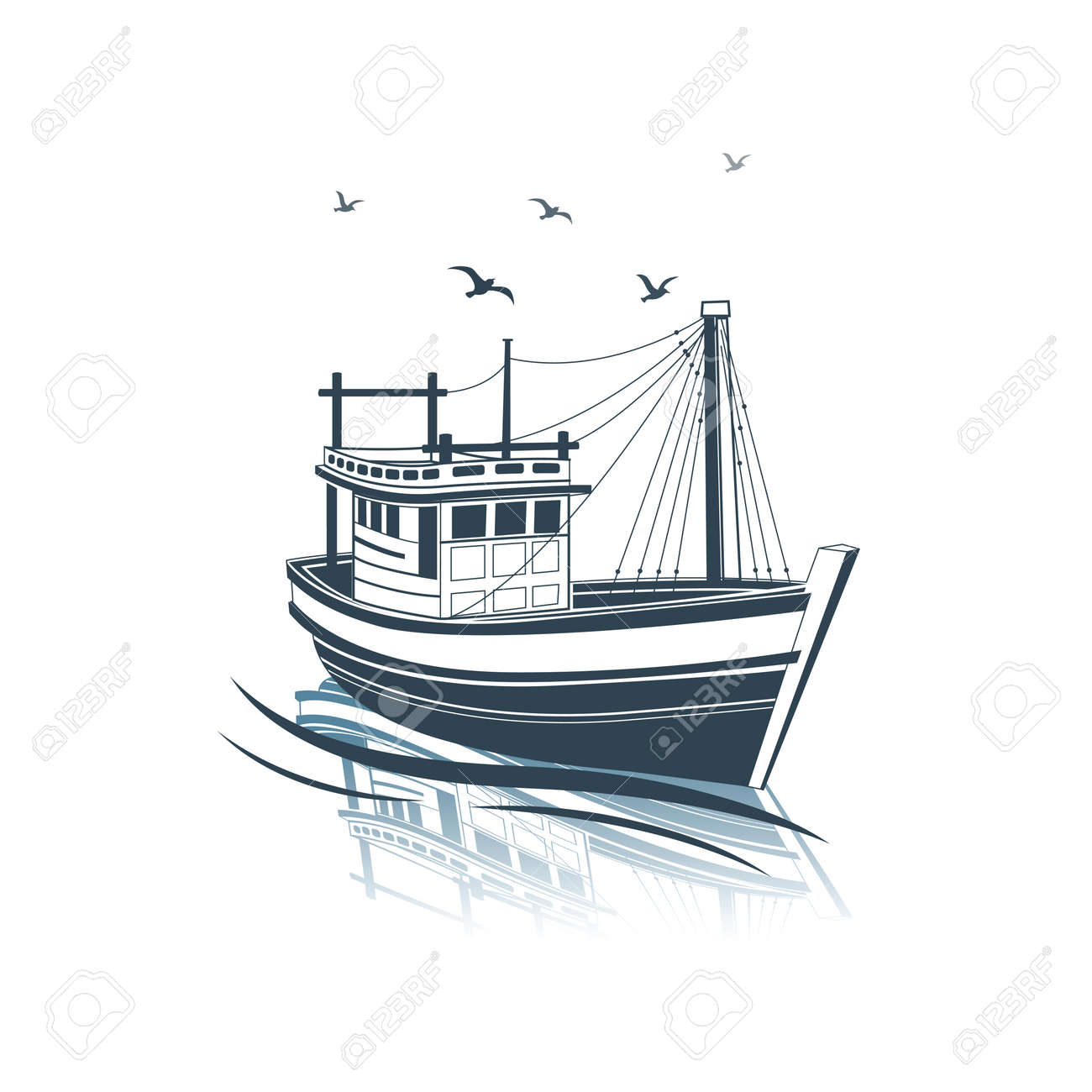 Fishing Boat side view on sea , vector illustration Stock Vector - 45239395