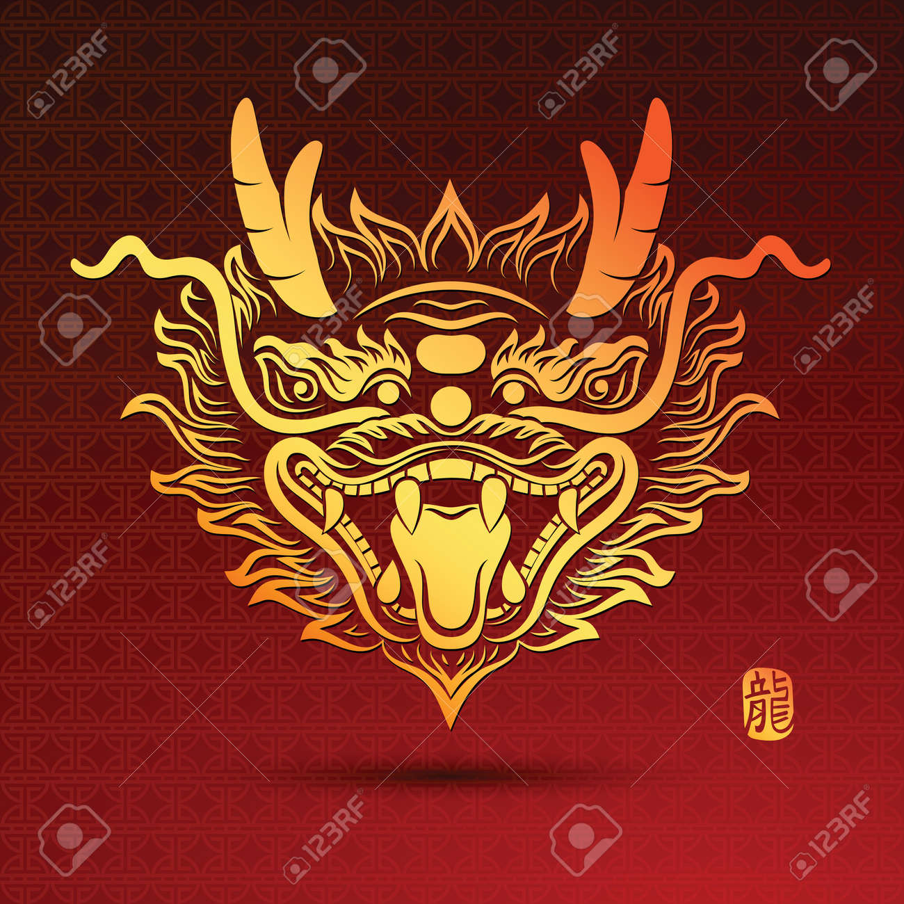 illustration of traditional head chinese dragon vector