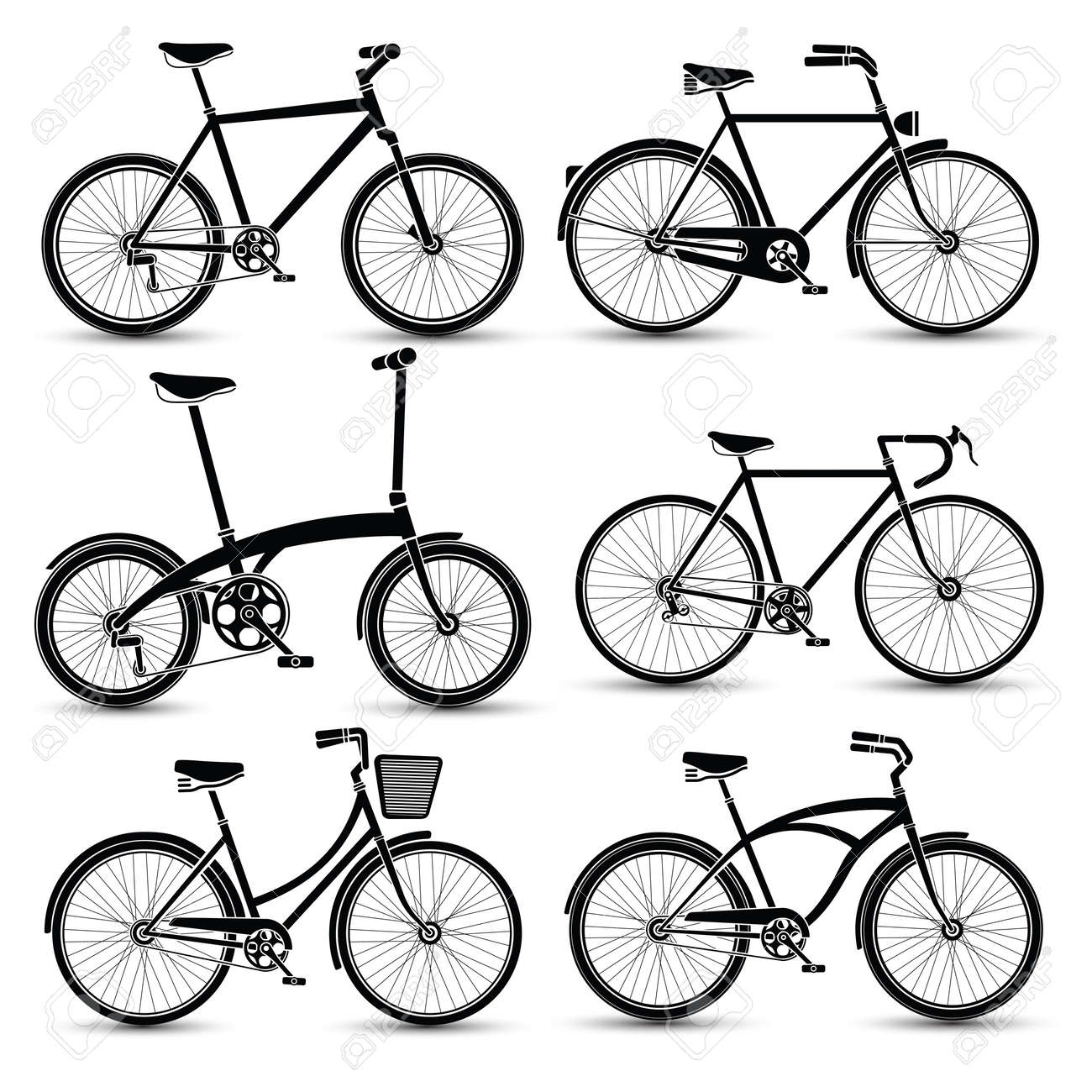 silhouette of Bicycles icon set vector illustration Stock Vector - 46035861