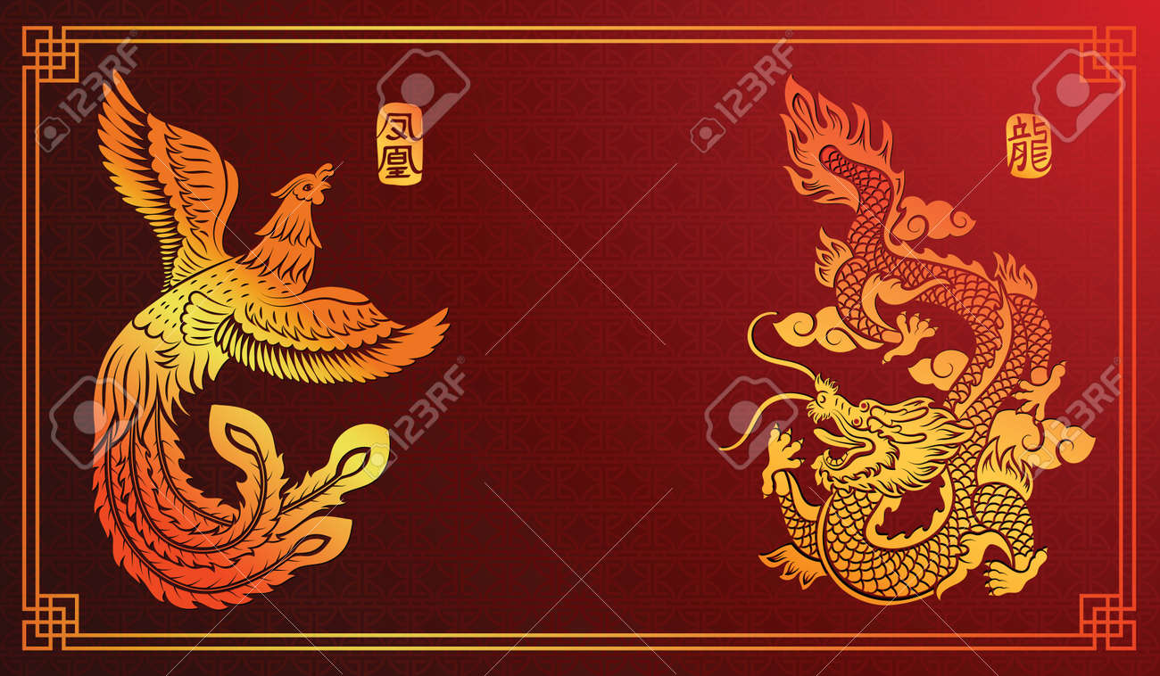 Chinese traditional template with chinese dragon and phoenix on red Background Stock Vector - 45818408