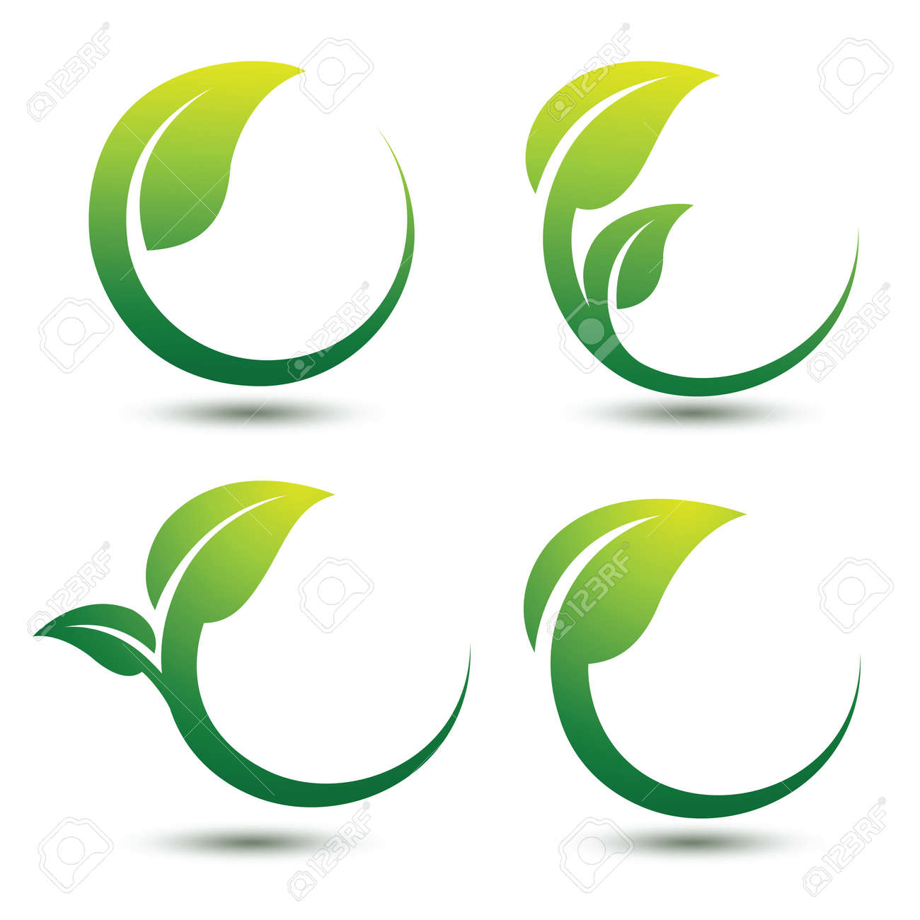Green labels concept with leaves,vector illustration Stock Vector - 46186078