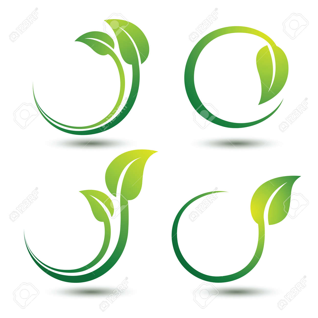 Green labels concept with leaves,vector illustration Stock Vector - 47616599