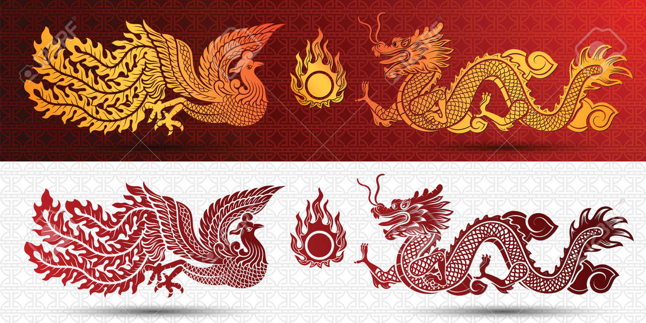 Chinese traditional template with chinese dragon and phoenix on red Background Stock Vector - 47791503